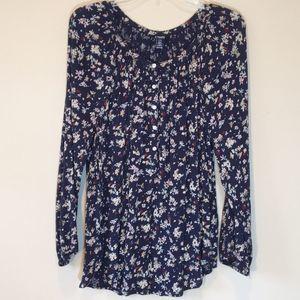 Chaps Size L Blue Floral Long Bishop Sleeve Shirt